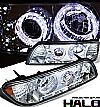1988 Ford Mustang   1 Pc Halo Projector Headlights - Chrome Housing Clear Lens