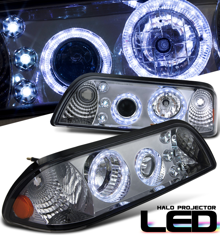 Ford Mustang  1987-1993 1 Pc Halo Projector Headlights - Smoke Housing Clear Lens