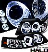 2000 Ford Mustang   Halo Projector Headlights - Black/Amber Housing Clear Lens