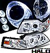 2000 Ford Mustang   Halo Projector Headlights - Chrome/Amber Housing Clear Lens