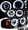 2000 Gmc Yukon   Halo Projector Headlights - Black/Amber Housing Clear Lens