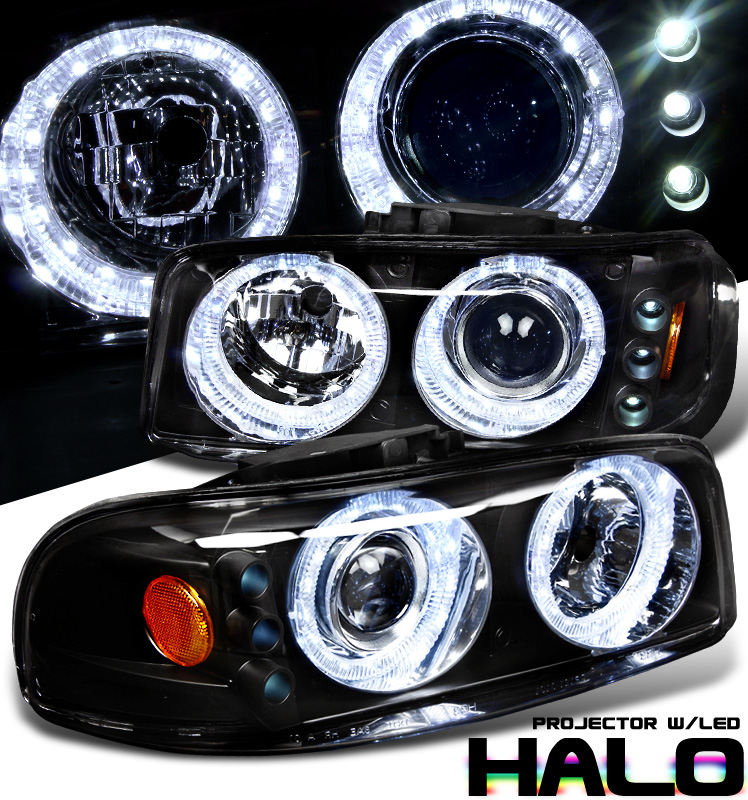 Gmc Yukon  1999-2006 Halo Projector Headlights - Black/Amber Housing Clear Lens