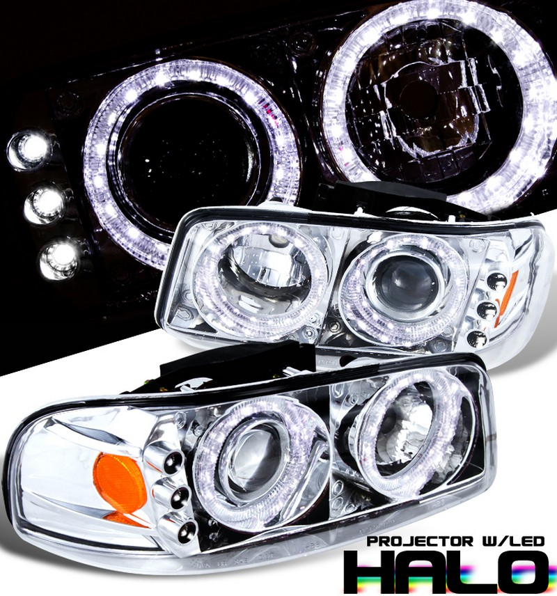 Gmc Yukon  1999-2006 Halo Projector Headlights - Chrome/Amber Housing Clear Lens
