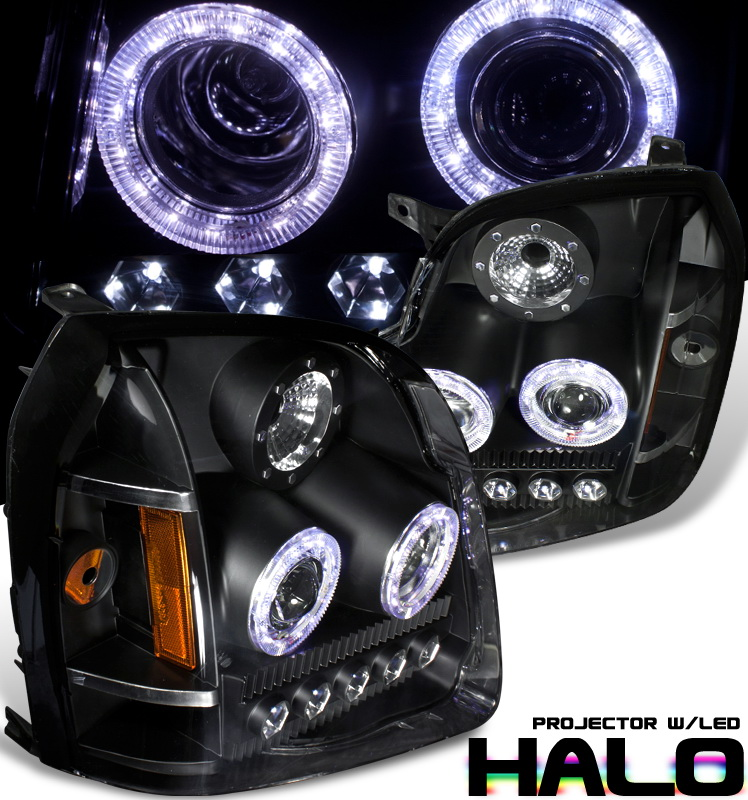 Gmc Yukon  2007-2011 Halo Projector Headlights - Black/Amber Housing Clear Lens