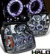 2009 Gmc Yukon   Halo Projector Headlights - Chrome/Amber Housing Smoke Lens