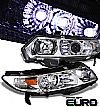 2008 Honda Civic 2dr  Projector  W/LED Headlights - Chrome Housing Clear Lens 