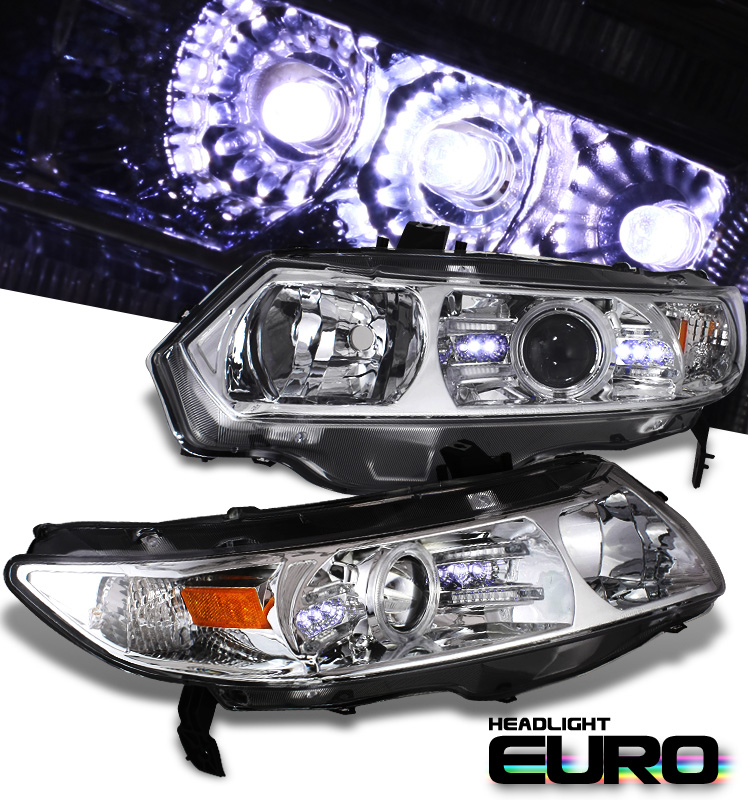 Honda Civic 2dr 2006-2009 Projector  W/LED Headlights - Chrome Housing Clear Lens 