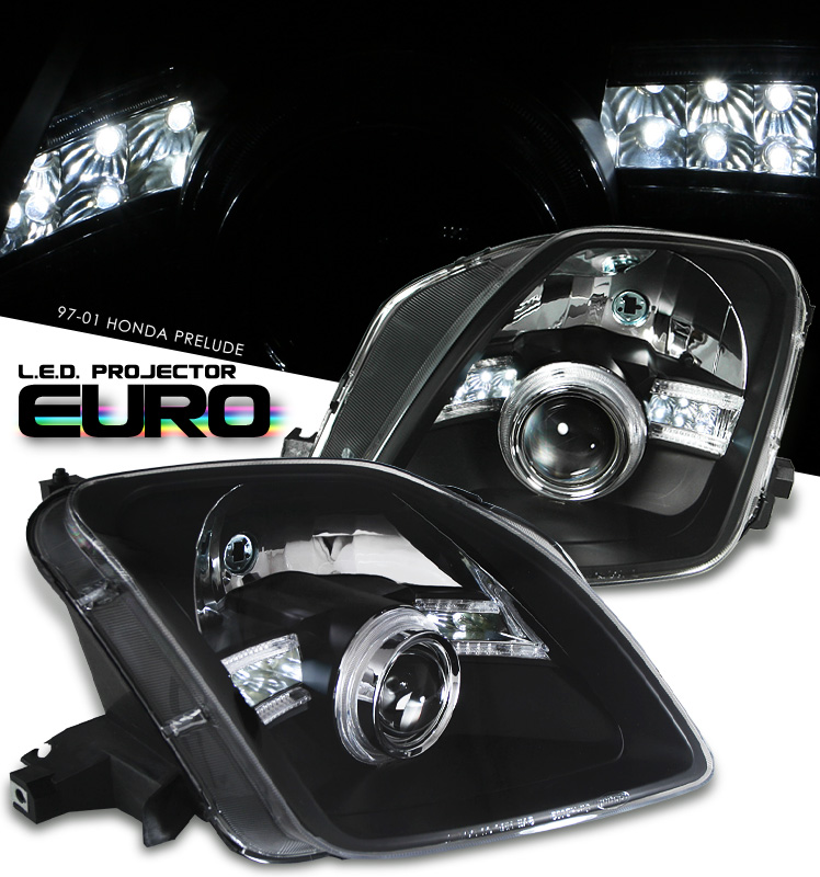 Honda Prelude  1997-2001 Projector  W/LED Headlights - Black Housing Clear Lens