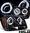 2000 Jeep Grand Cherokee   Halo Projector Headlights - Black Housing Clear Lens