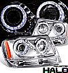 2003 Jeep Grand Cherokee   Halo Projector Headlights - Chrome Housing Clear Lens 