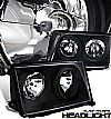 1995 Mercedes Benz E Class W124  Projector Headlights - Black Housing Clear Lens 