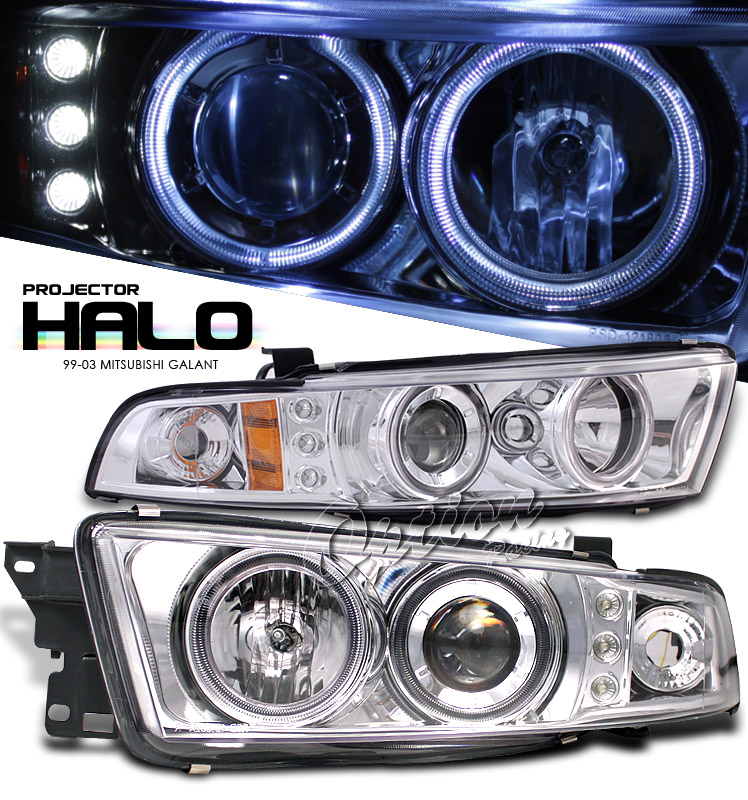 Mitsubishi Galant 1999-2003  Chrome W/ Halo Led Projector Headlights