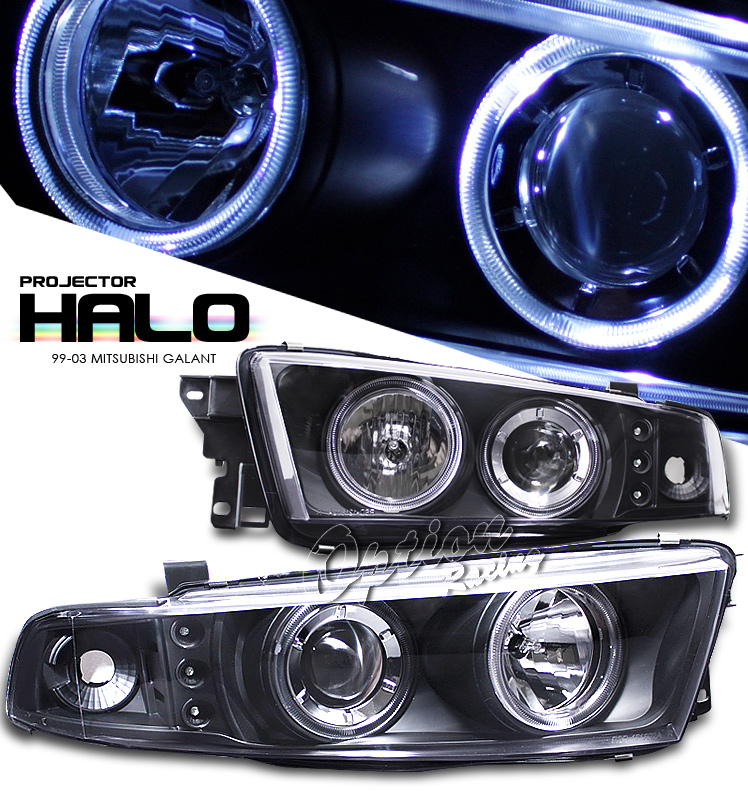 Mitsubishi Galant 1999-2003  Black W/ Halo Led Projector Headlights
