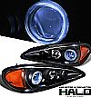 1999 Pontiac Grand Am   Halo Projector Headlights - Black Housing Clear Lens 