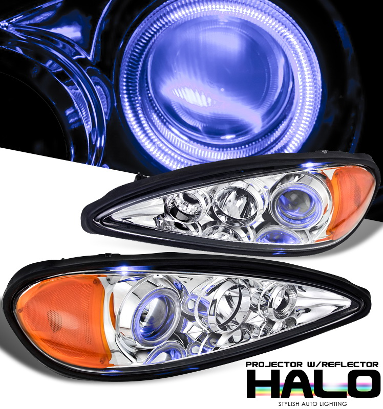 Pontiac Grand Am  1999-2005 Halo Projector Headlights - Chrome Housing Clear Lens 