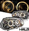 2002 Volkswagen Golf   Halo Projector Headlights - Titanium Housing Clear Lens 