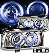 Volkswagen Jetta  1993-1998 Halo Projector Headlights - Titanium Housing Clear Lens