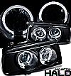 1998 Volkswagen Jetta   Halo LED Projector Headlights - Black Housing Clear Lens