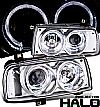 Volkswagen Jetta  1993-1998 Halo LED Projector Headlights - Chrome Housing Clear Lens