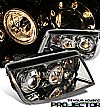 2000 Volkswagen Jetta   Projector Headlights - Titanium Housing Clear Lens 
