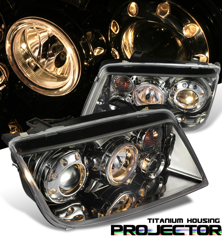 Volkswagen Jetta  1999-2004 Projector Headlights - Titanium Housing Clear Lens 