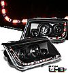 2000 Volkswagen Jetta   Projector Headlights - Black Housing Clear Lens