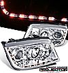 2000 Volkswagen Jetta   Projector Headlights - Chrome Housing Clear Lens 