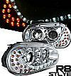 2002 Volkswagen Golf   Projector Headlights - Chrome Housing Clear Lens