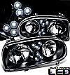 1994 Volkswagen Golf   Projector  W/LED Headlights - Black Housing Clear Lens 