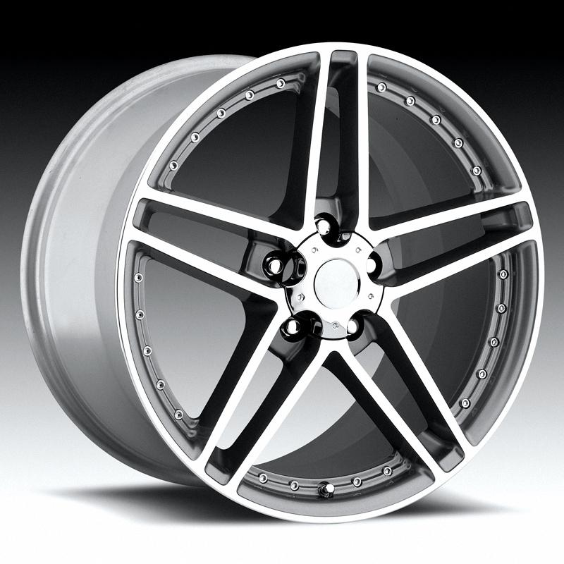 Chevrolet Corvette 1997-2012 20x11 5x4.75 +79 - C6 Z06 Motorsport Wheel -  Grey Machine Face With Cap
