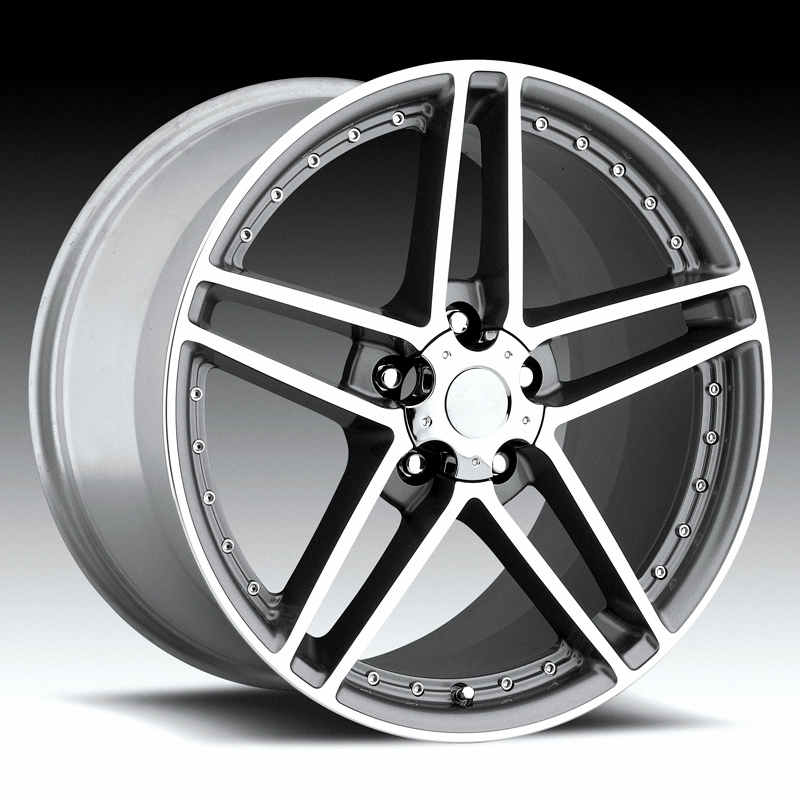 Chevrolet Corvette 1997-2012 17x8.5 5x4.75 +56 - C6 Z06 Motorsport Wheel -  Grey Machine Face With Cap