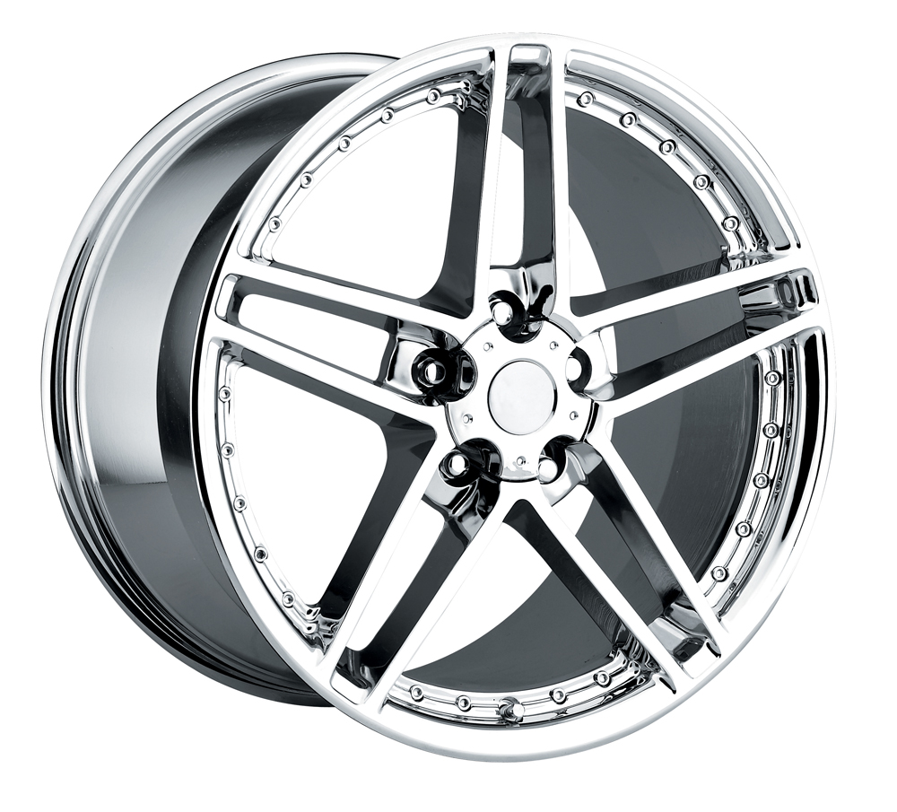 Chevrolet Corvette 1997-2012 17x8.5 5x4.75 +56 - C6 Z06 Motorsport Wheel -  Chrome With Cap