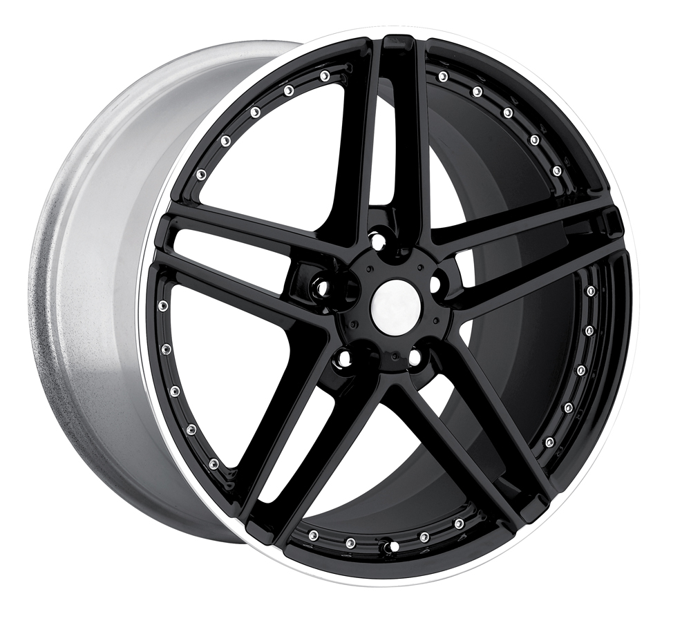 Chevrolet Corvette 1997-2012 17x8.5 5x4.75 +56 - C6 Z06 Motorsport Wheel -  Black Machine Lip With Cap