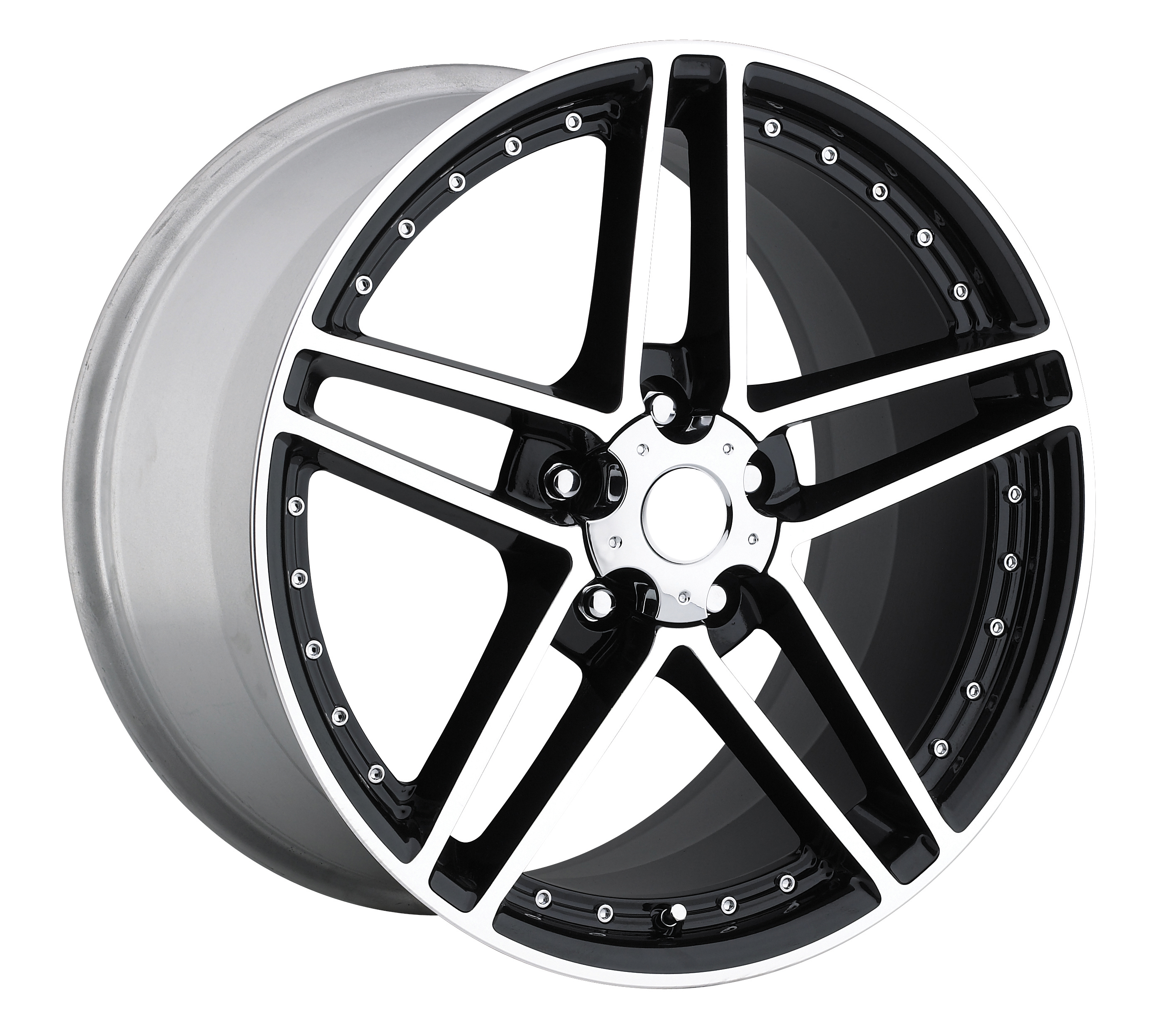 Chevrolet Corvette 1997-2012 17x8.5 5x4.75 +56 - C6 Z06 Motorsport Wheel -  Black Machine Face With Cap