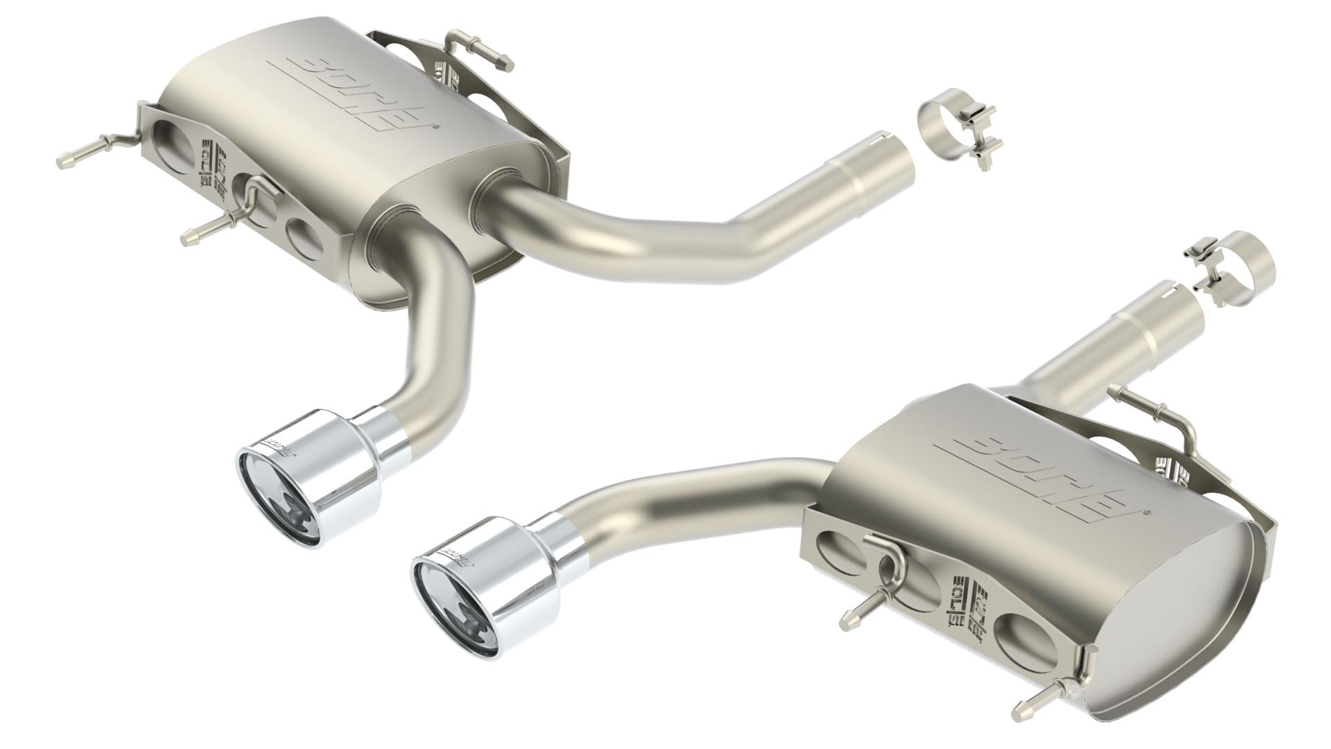 Cadillac CTS V Coupe 2011-2012 Borla 2.5&#34; Rear Exhaust Section  &#34;touring&#34; - Dual Round Rolled Angle-Cut