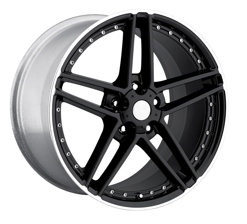 Chevrolet Corvette 1997-2012 19x9.5 5x4.75 +57 - C6 Z06 Motorsport Wheel -  Black Machine Lip With Cap