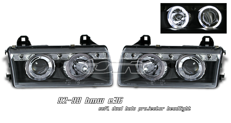 Bmw 3 Series 1992-1998  Black W/ccfl Halo Projector Headlights