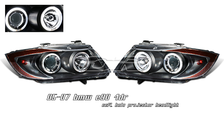 Bmw 3 Series E90 4 Door 2006-2008 Ccfl Halo Projector Headlights - Black Housing Clear Lens