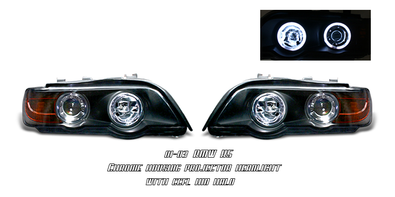 Bmw X5 2001-2003  Black W/ Ccfl Halo Projector Headlights