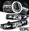 1997 Saturn S-Series   Ccfl Halo Projector Headlights - Black Housing Clear Lens