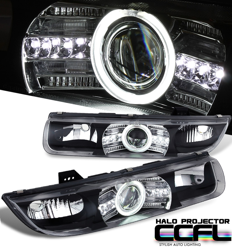 Saturn S-Series  1996-1999 Ccfl Halo Projector Headlights - Black Housing Clear Lens