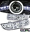1998 Saturn S-Series   Ccfl Halo Projector Headlights - Chrome Housing Clear Lens 
