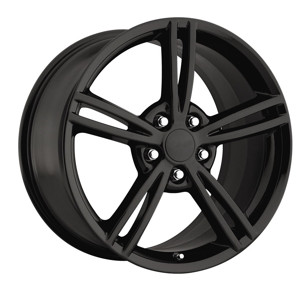 Chevrolet Corvette 1997-2012 17x8.5 5x4.75 +56 2008 Style Wheel - Gloss Black With Cap