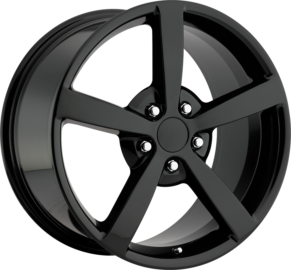 Chevrolet Corvette 1997-2012 18x8.5 5x4.75 +56 2009 Style Wheel - Gloss Black With Cap 