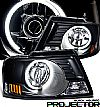 2004 Ford F150   Ccfl Halo Projector Headlights - Black Housing Clear Lens