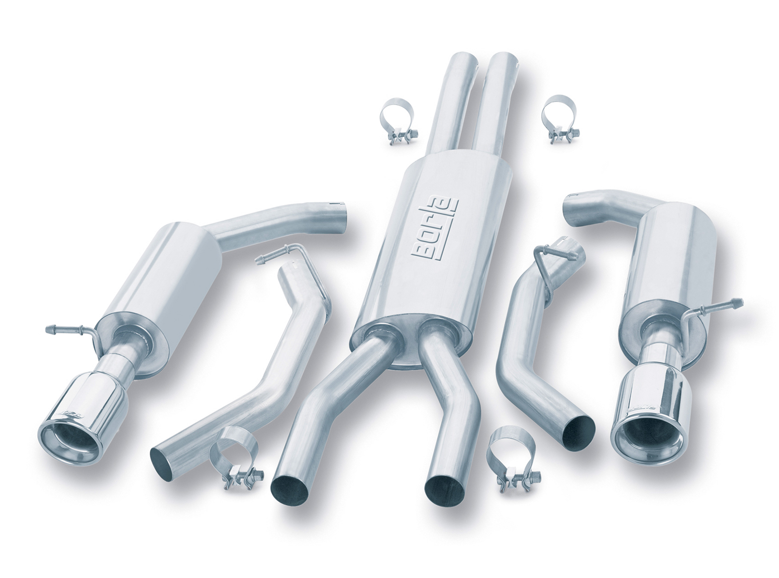 "Ford Thunderbird  2002-2002 Borla 2.25"" Cat-Back Exhaust System - Single Round Rolled Angle-Cut Lined"