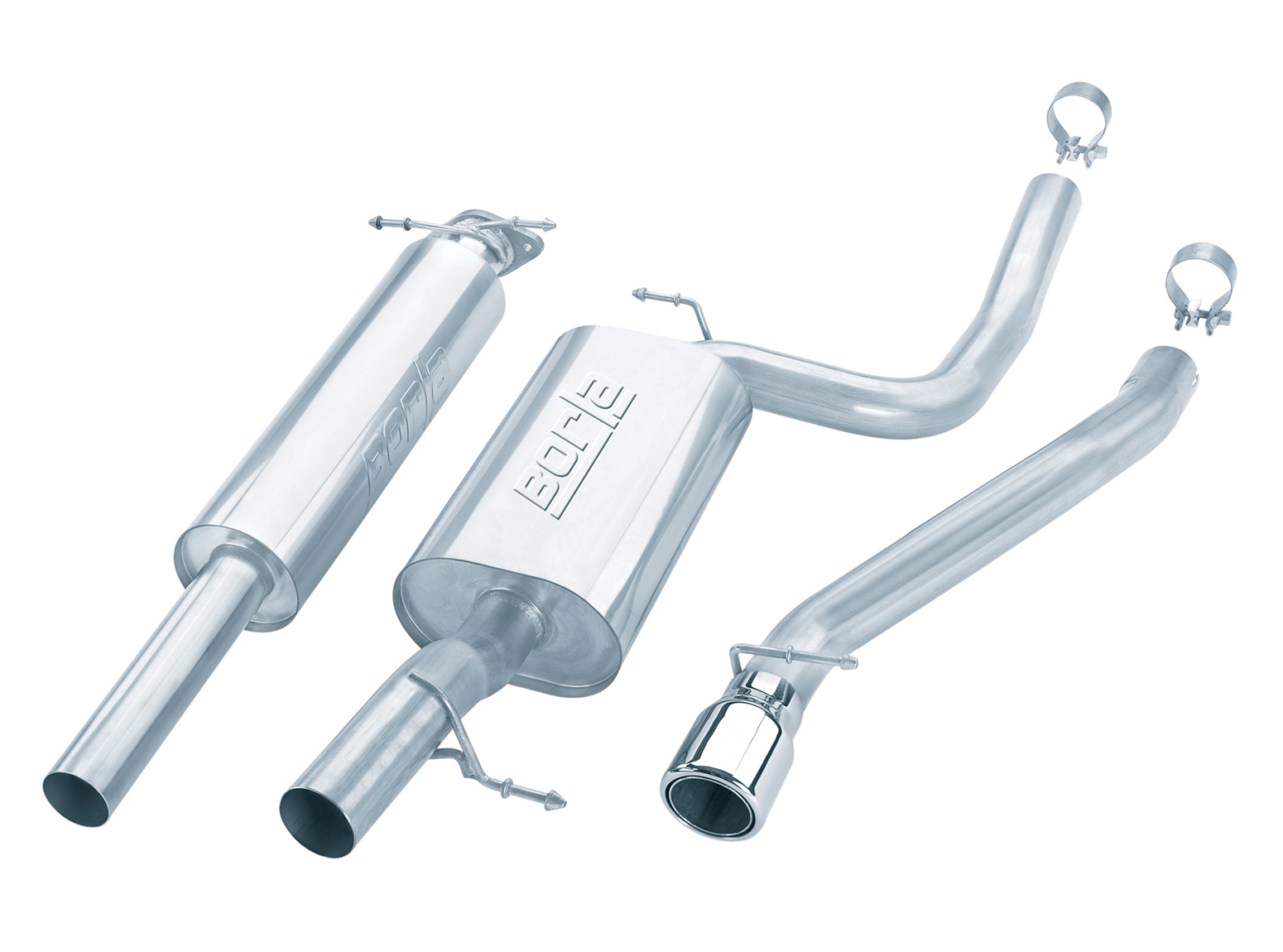 Ford Focus Svt 2.0l 2002-2004 Borla 2.5&#34; Cat-Back Exhaust System - Single Round Half-Rolled Angle-Cut Phantom