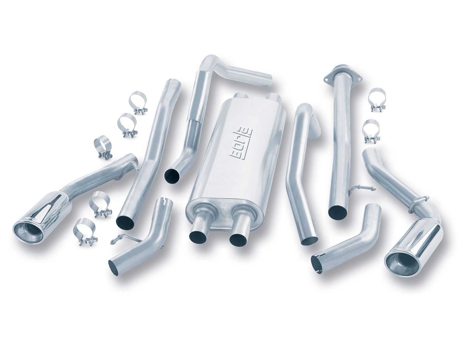 "Cadillac Escalade  Esv 6.0l 2003-2006 Borla 2.5"", 2.25"" Cat-Back Exhaust System - Single Round Rolled Angle-Cut Lined Resonated"