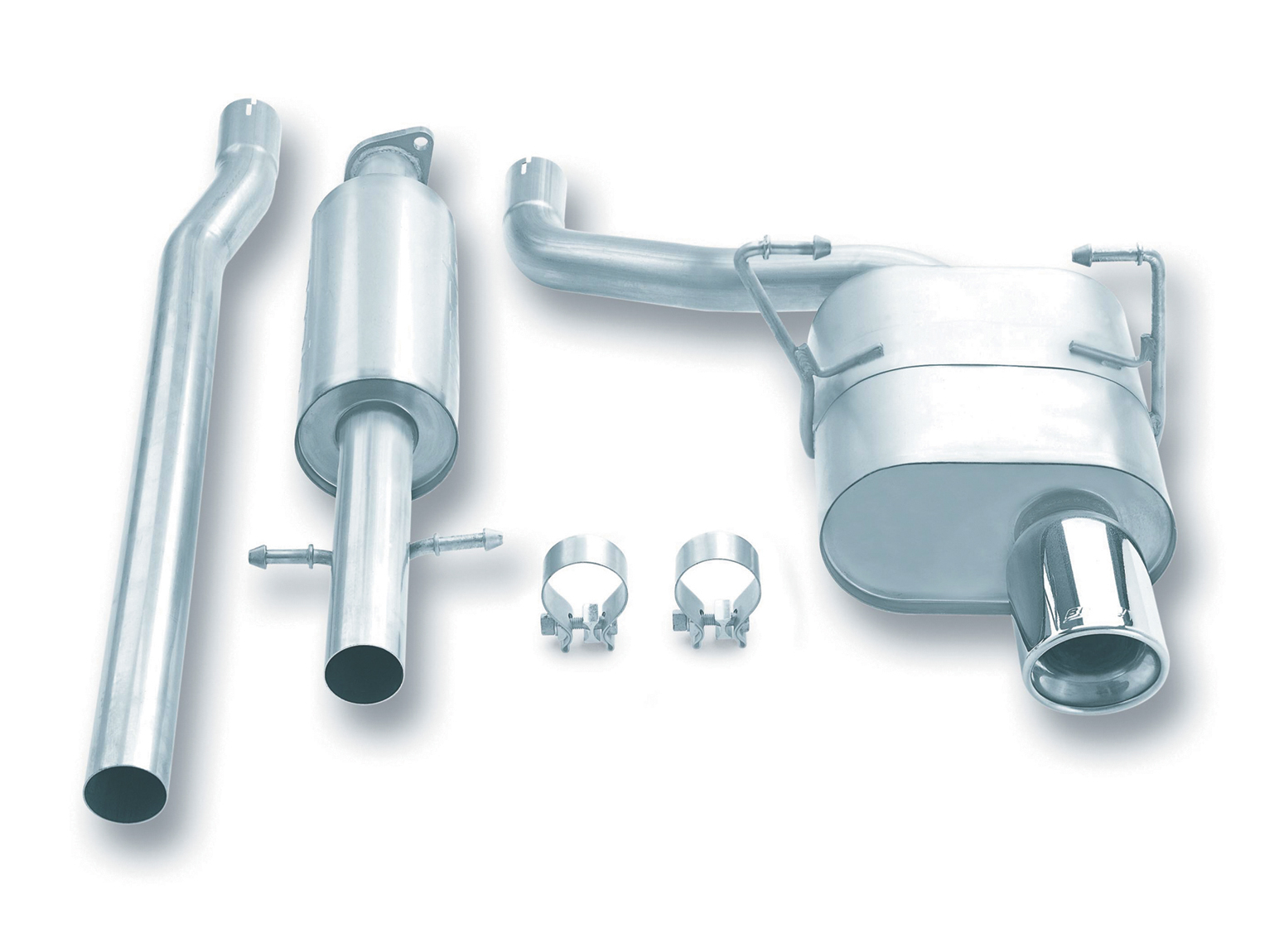 "Mini Cooper  2002-2007 Borla 2.25"" Cat-Back Exhaust System - Single Round Rolled Angle-Cut Lined"