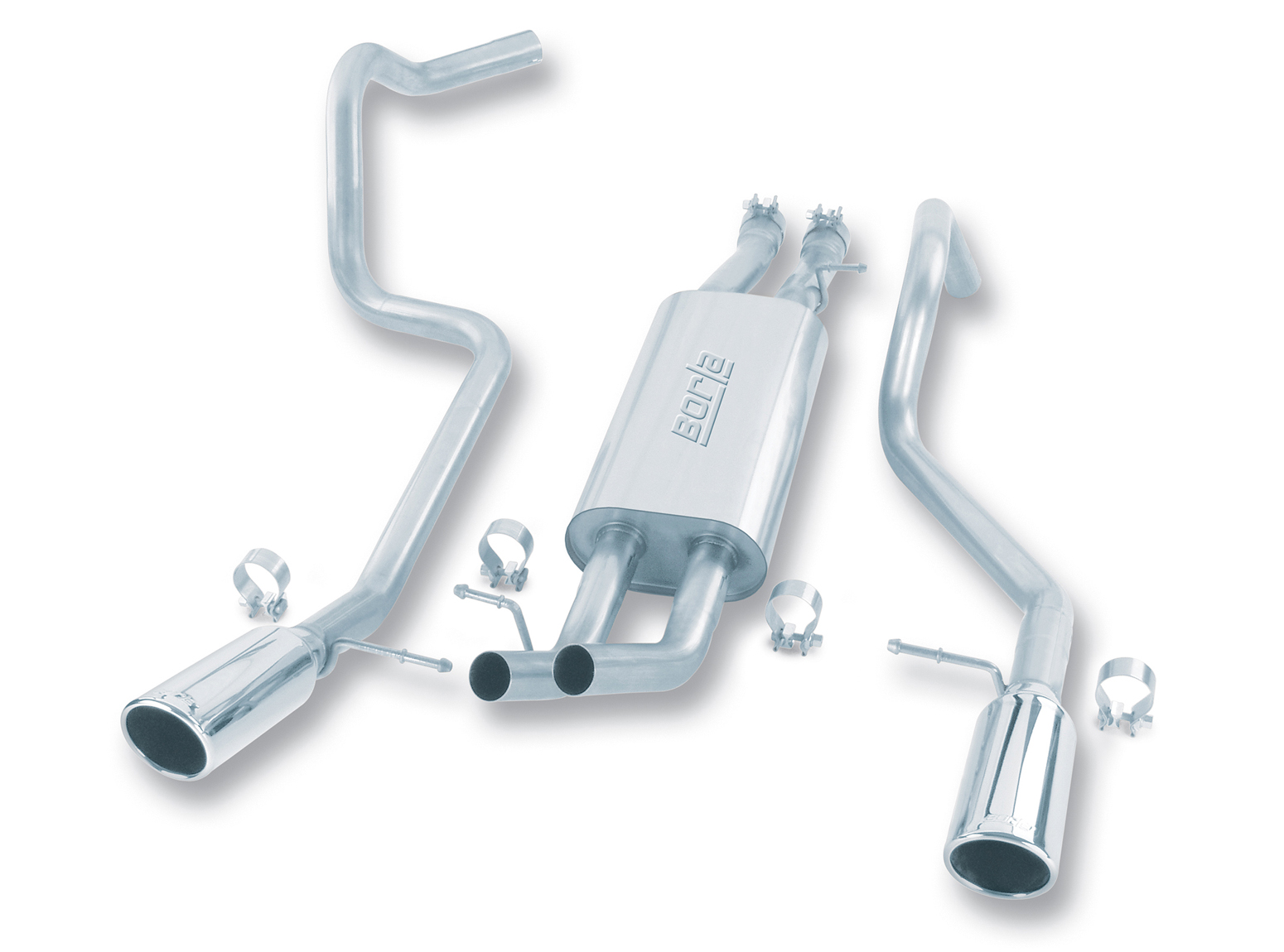 "Gmc Sierra 1500 6.0l V8 (incl Hd) 2001-2007 Borla 2.75"", 2.25"" Cat-Back Exhaust System - Single Round Rolled Angle-Cut  Long X Single Round Rolled Angle-Cut Intercooled"" Dia"